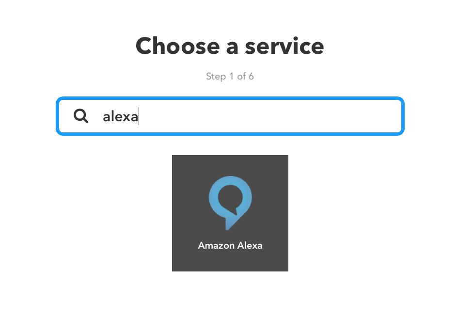 Einrichtungsseite für IFTTT Applets mit Amazon Alexa