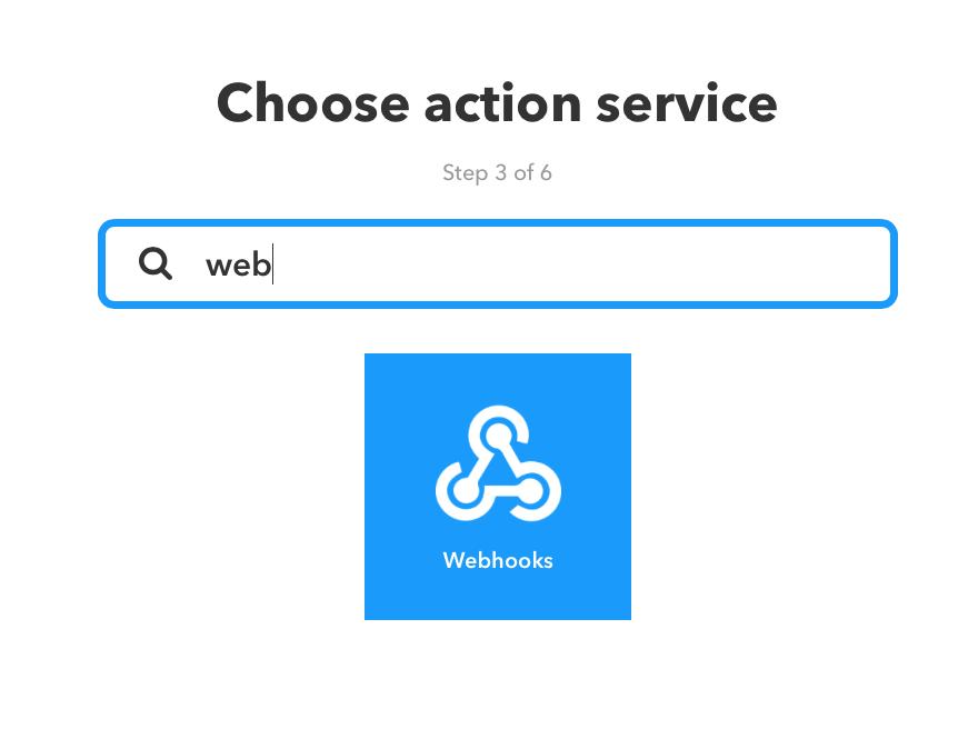 Dieses Bild zeigt den +that Schritt bei IFTTT mit Webhooks