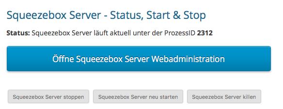"""Schaltfläche mit der Aufschrift """"Öffne Squeezebox Server Webadministration"""""""