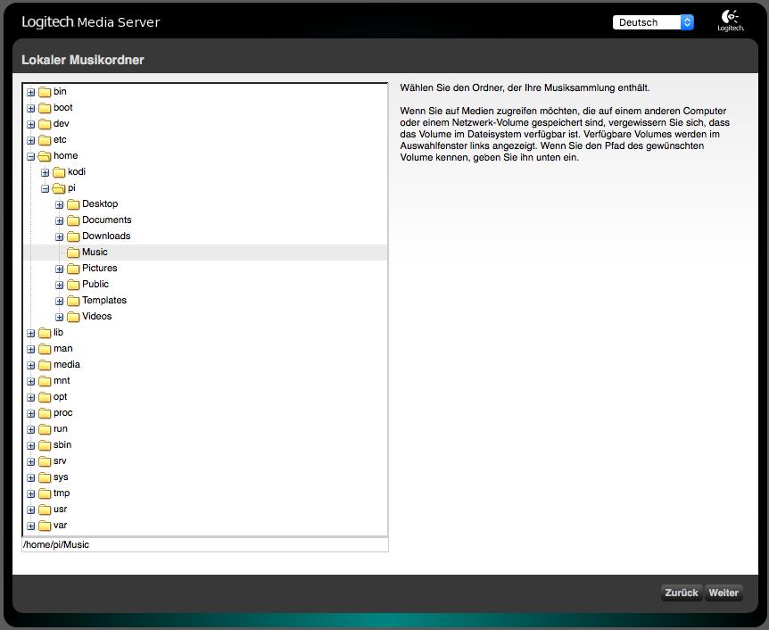 Squeezbox Server Einrichtungsassistent, Auswahl vom Speicherort der Musiksammlung