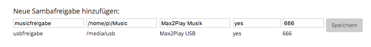 Eingabe für die Einrichtung einer neuen Sambafreigabe für Max2Play