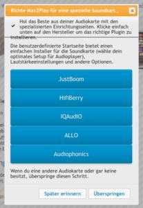 Max2Play Willkommensseite zur Auswahl der richtigen Soundkarte am Raspberry