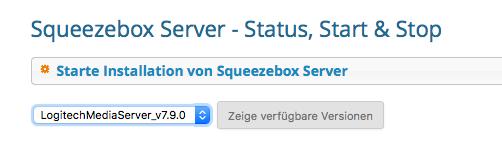 Webinterface von Max2Play mit Funktion zur automatischen Installation vom Squeezebox Server