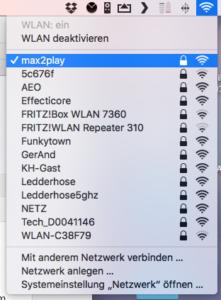 Übersicht über die W-Lan Netzwerke