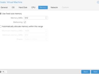 Proxmox Webinterface zur Erstellung einer neuen virtuellen Maschine: Tab Memory