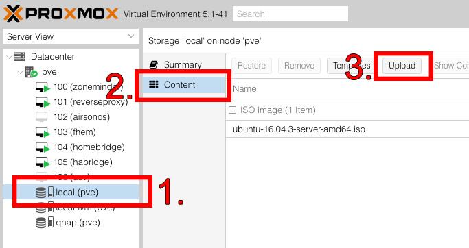Proxmox Webinterface zum Hochladen vom Betriebssystem