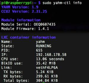 consolen-output für die IP-Adresse der CCU2