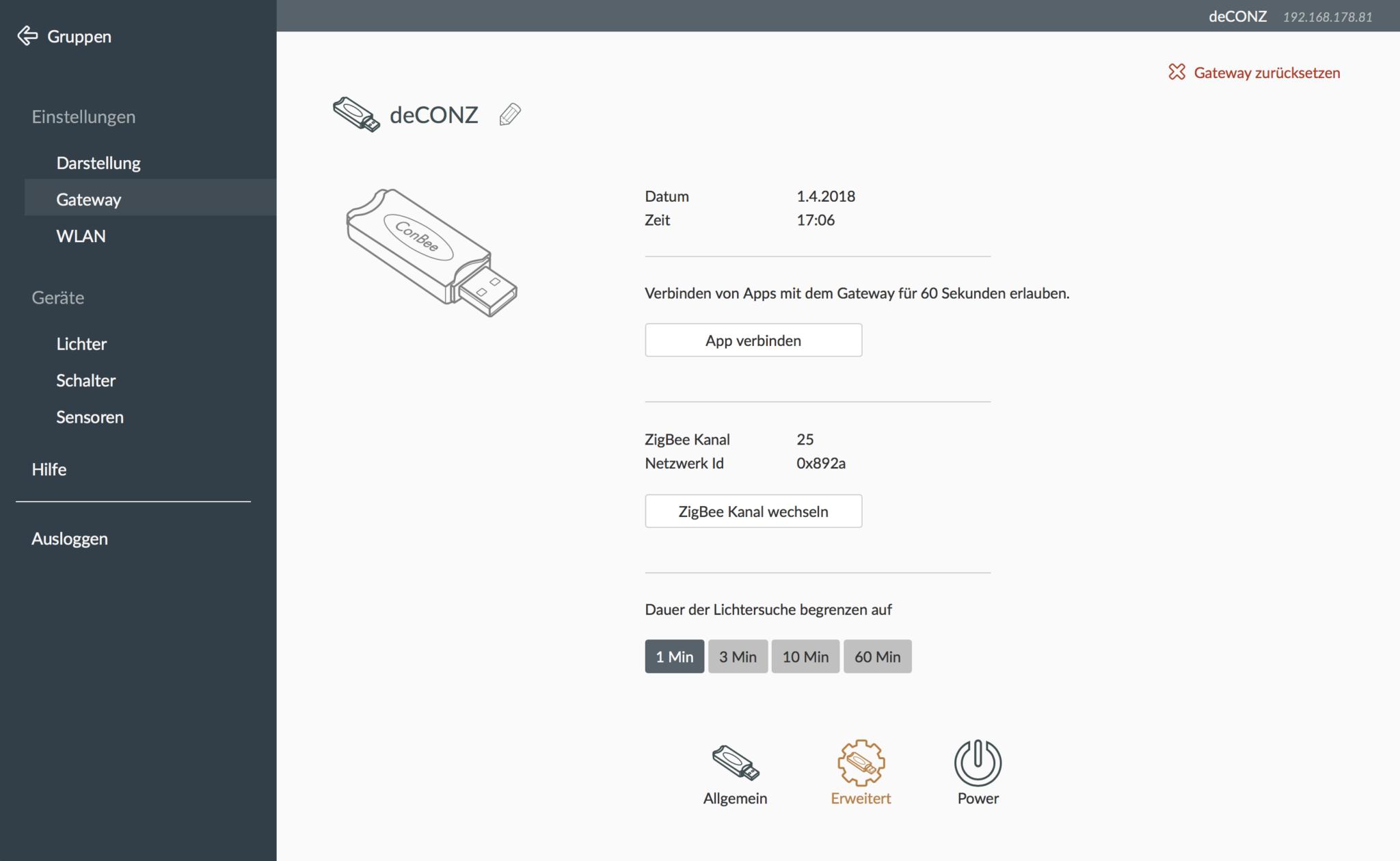 deCONZ Web-Ui mit erweiterten Gateway Einstellungen