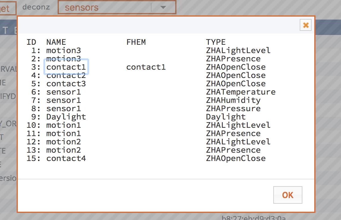 FHEM Übersicht über die angebundenen Sensoren an der deCONZ / HUE Bridge