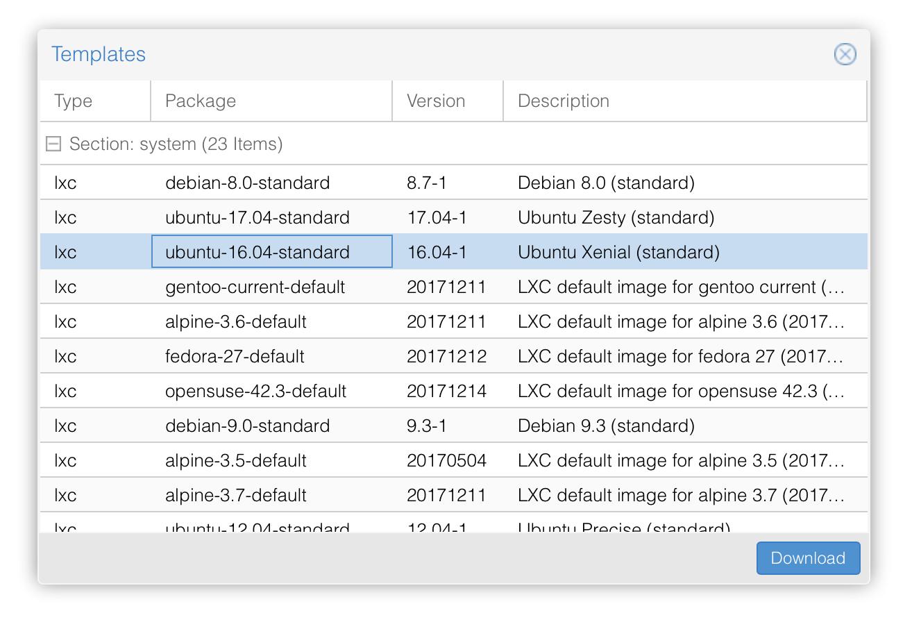 Screenshot Proxmox GUI zum herunterladen des LXC Templates