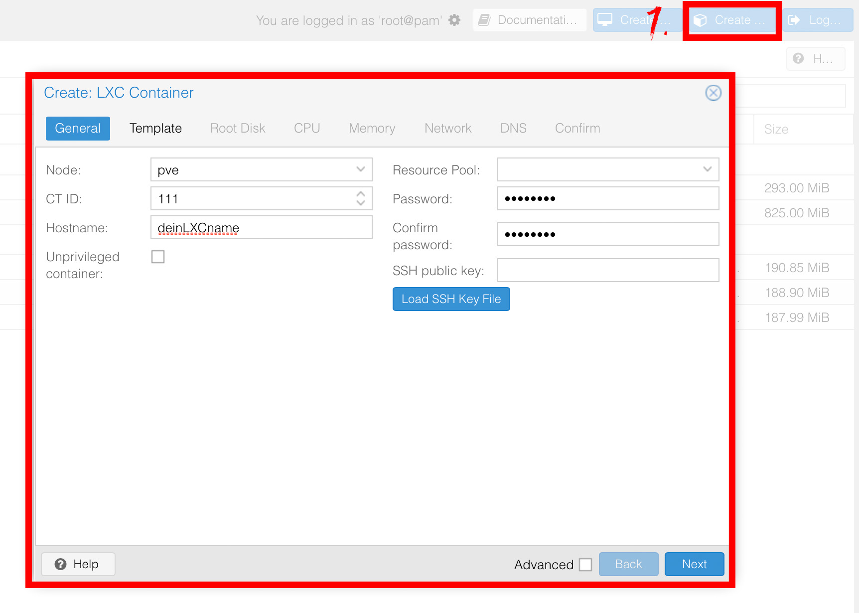 Screenshot Proxmox GUI zum Erstellen eines LXC Containers