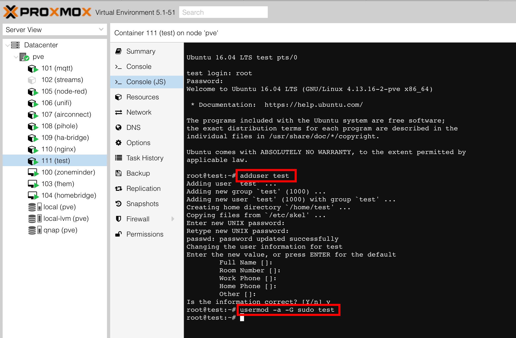 Proxmox WEB-UI mit Console Output