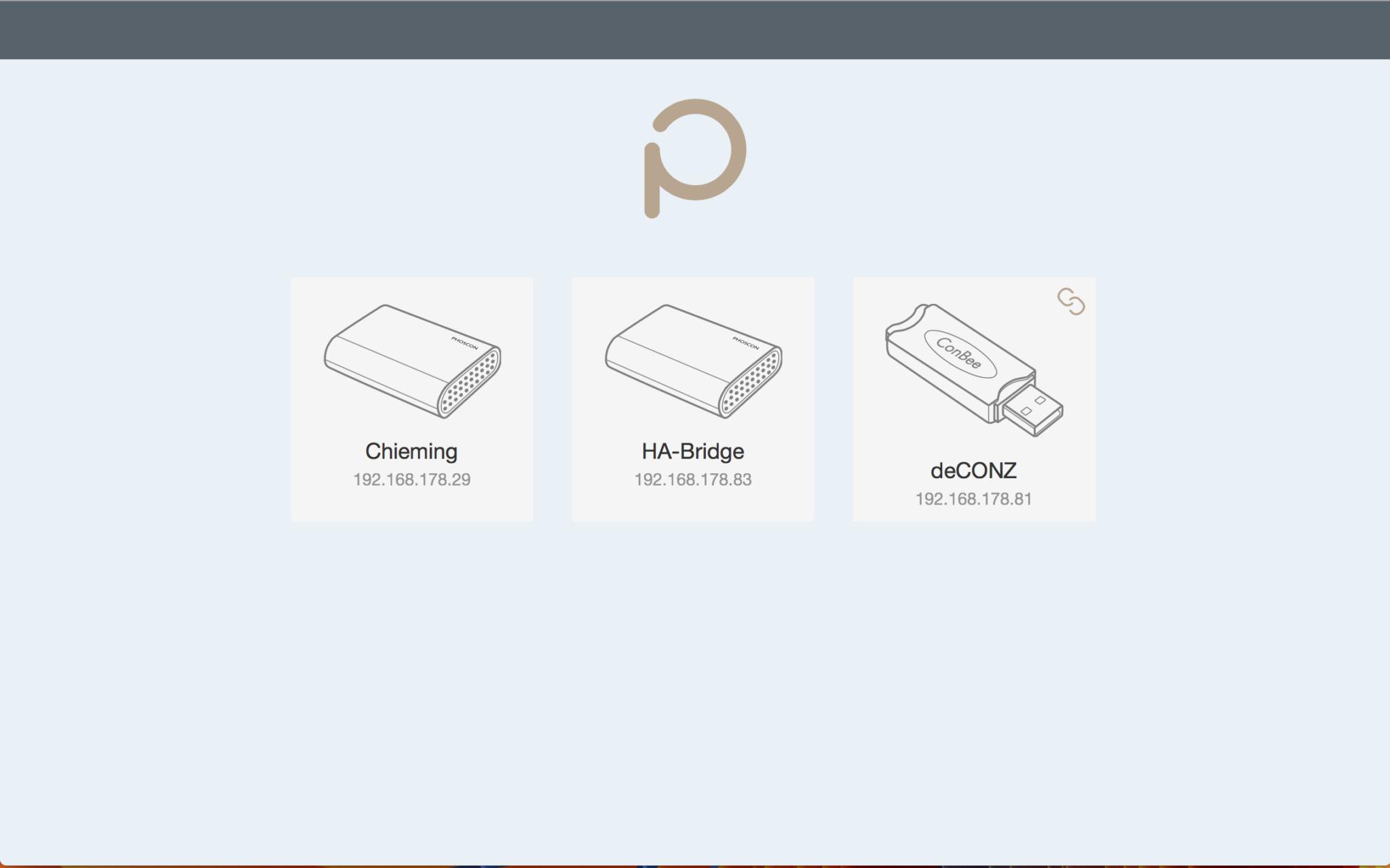 Login Bildschirm für die Phoscon-App