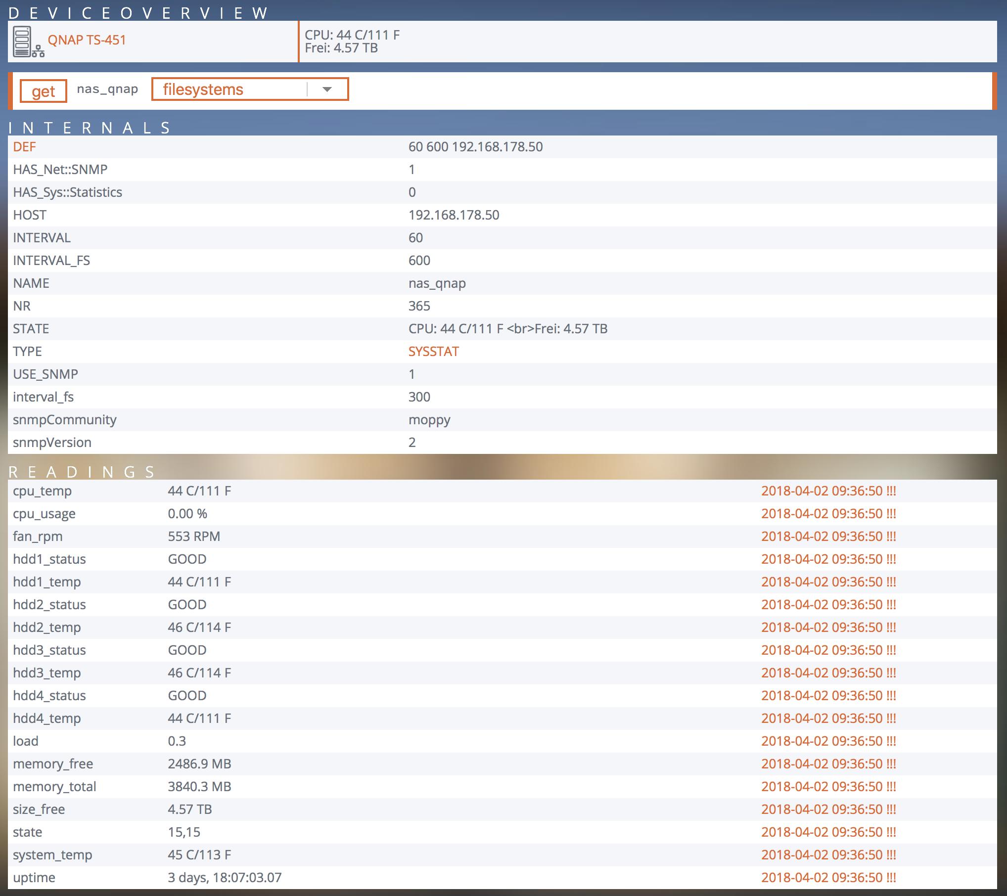 Screenshot aus FHEM mit über SNMP eingebundenem NAS